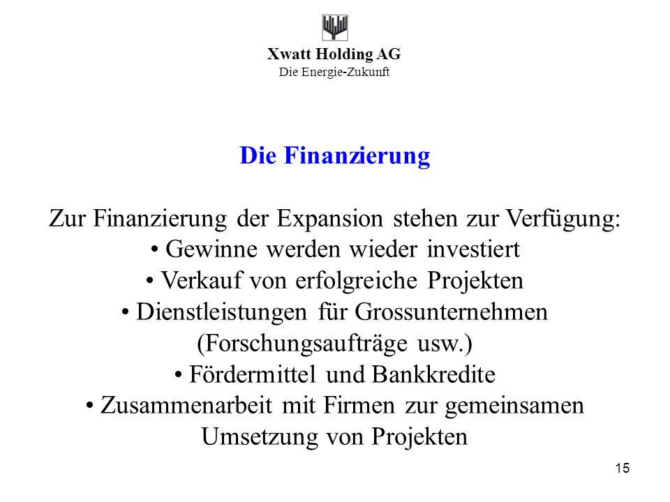 Xwatt Holding AG Die Energie-Zukunft 15 Die Finanzierung Zur Finanzierung der Expansion stehen zur Verfügung: Gewinne werden wieder investiert Verkauf