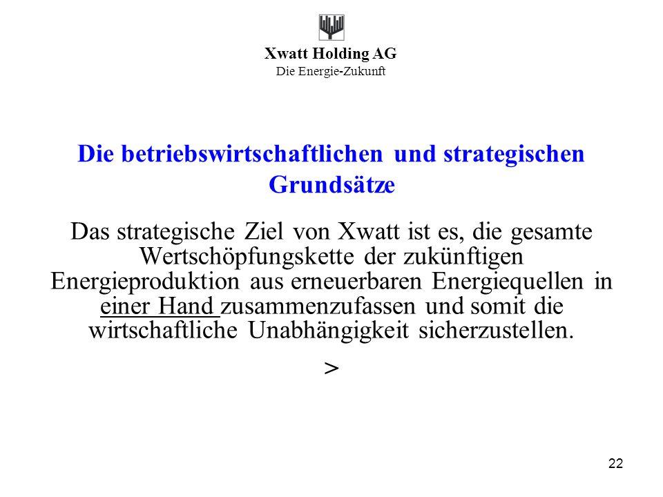 Xwatt Holding AG Die Energie-Zukunft 22 Die betriebswirtschaftlichen und strategischen Grundsätze Das strategische Ziel von Xwatt ist es, die gesamte