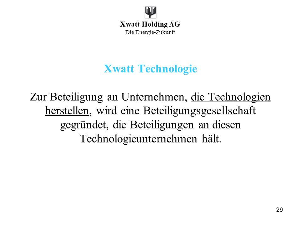 Xwatt Holding AG Die Energie-Zukunft 29 Xwatt Technologie Zur Beteiligung an Unternehmen, die Technologien herstellen, wird eine Beteiligungsgesellsch