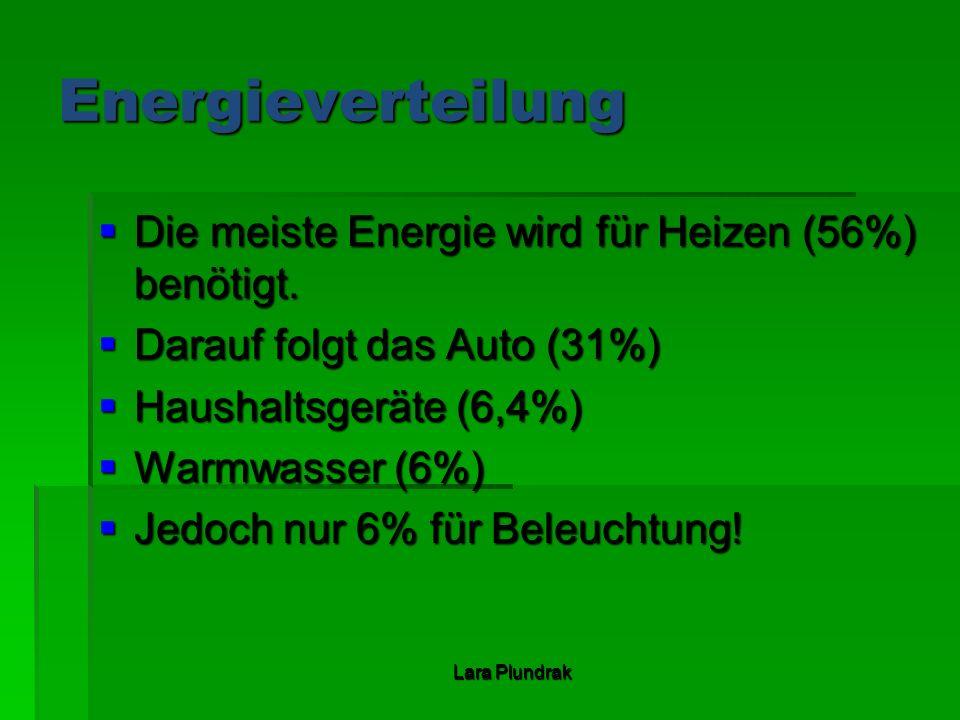 Lara Plundrak Energieverteilung Die meiste Energie wird für Heizen (56%) benötigt. Die meiste Energie wird für Heizen (56%) benötigt. Darauf folgt das