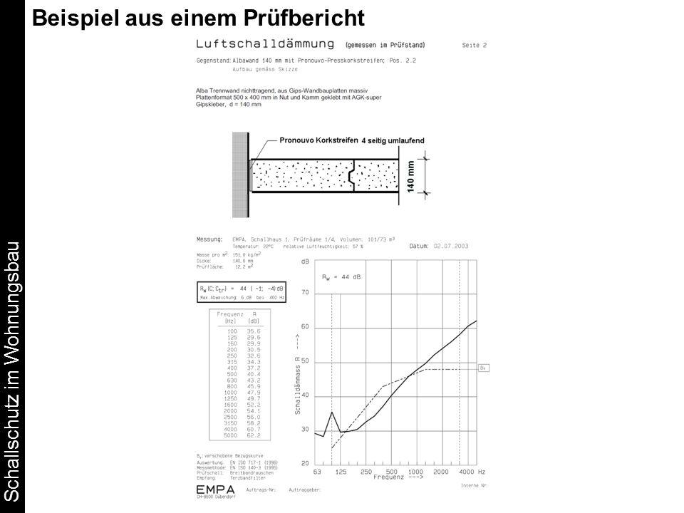 Schallschutz im Wohnungsbau Beispiel aus einem Prüfbericht