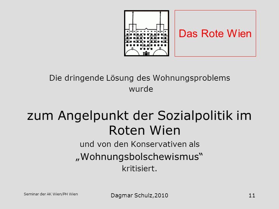 Seminar der AK Wien/PH Wien Dagmar Schulz,201011 Das Rote Wien Die dringende Lösung des Wohnungsproblems wurde zum Angelpunkt der Sozialpolitik im Rot