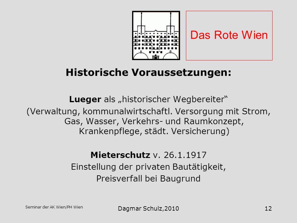 Seminar der AK Wien/PH Wien Dagmar Schulz,201012 Das Rote Wien Historische Voraussetzungen: Lueger als historischer Wegbereiter (Verwaltung, kommunalw