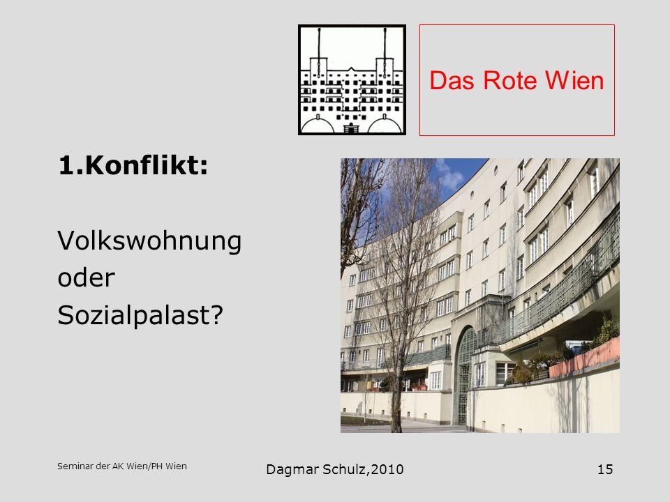 Seminar der AK Wien/PH Wien Dagmar Schulz,201015 Das Rote Wien 1.Konflikt: Volkswohnung oder Sozialpalast?