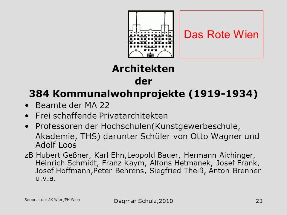Seminar der AK Wien/PH Wien Dagmar Schulz,201023 Das Rote Wien Architekten der 384 Kommunalwohnprojekte (1919-1934) Beamte der MA 22 Frei schaffende P
