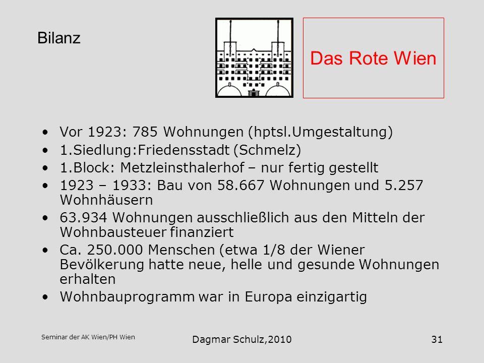 Seminar der AK Wien/PH Wien Dagmar Schulz,201031 Das Rote Wien Vor 1923: 785 Wohnungen (hptsl.Umgestaltung) 1.Siedlung:Friedensstadt (Schmelz) 1.Block