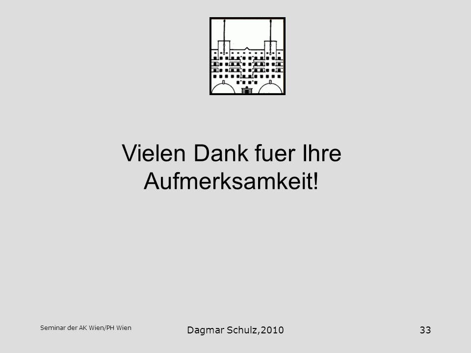Seminar der AK Wien/PH Wien Dagmar Schulz,201033 Vielen Dank fuer Ihre Aufmerksamkeit!
