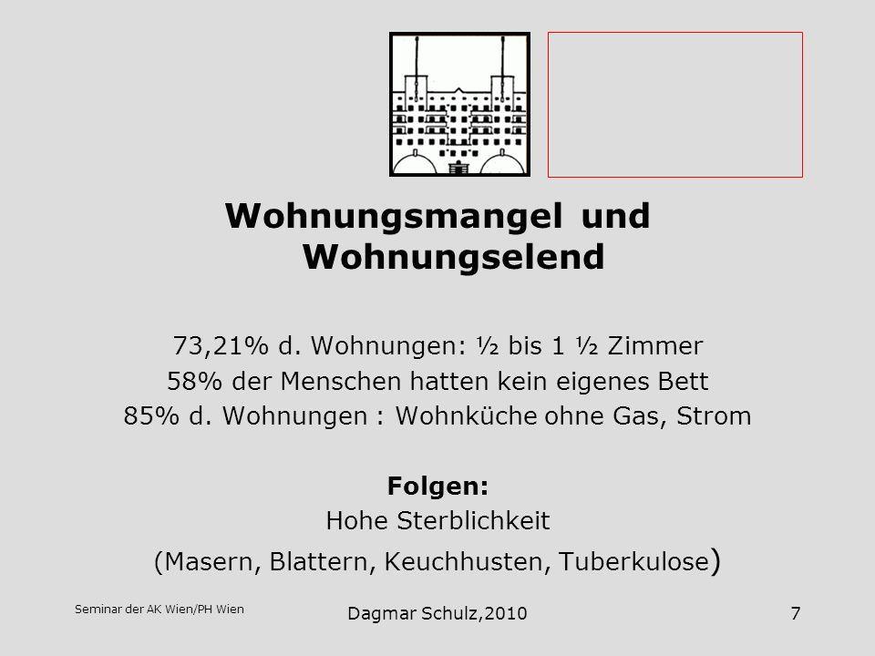Seminar der AK Wien/PH Wien Dagmar Schulz,20107 Wohnungsmangel und Wohnungselend 73,21% d. Wohnungen: ½ bis 1 ½ Zimmer 58% der Menschen hatten kein ei