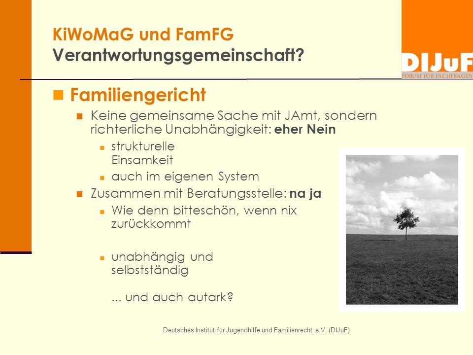 Deutsches Institut für Jugendhilfe und Familienrecht e.V. (DIJuF) KiWoMaG und FamFG Verantwortungsgemeinschaft? Familiengericht Keine gemeinsame Sache