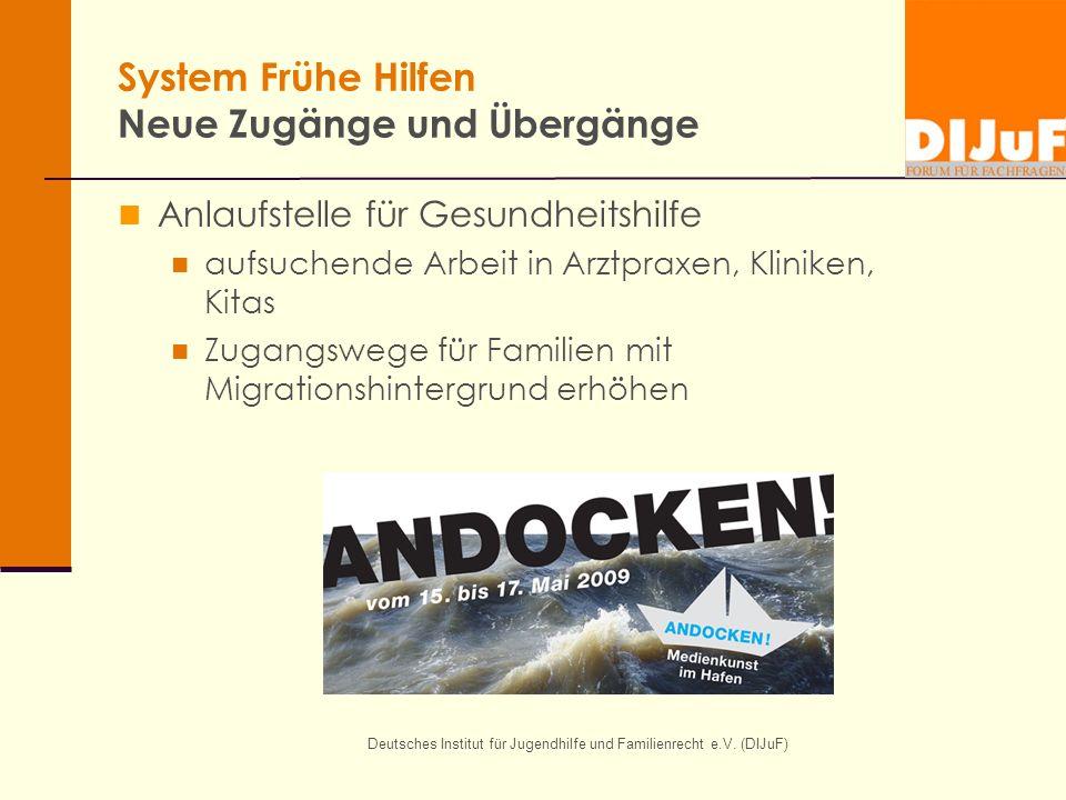 Deutsches Institut für Jugendhilfe und Familienrecht e.V. (DIJuF) System Frühe Hilfen Neue Zugänge und Übergänge Anlaufstelle für Gesundheitshilfe auf