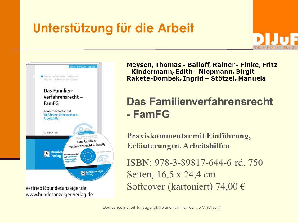 Deutsches Institut für Jugendhilfe und Familienrecht e.V. (DIJuF) Unterstützung für die Arbeit Meysen, Thomas - Balloff, Rainer - Finke, Fritz - Kinde