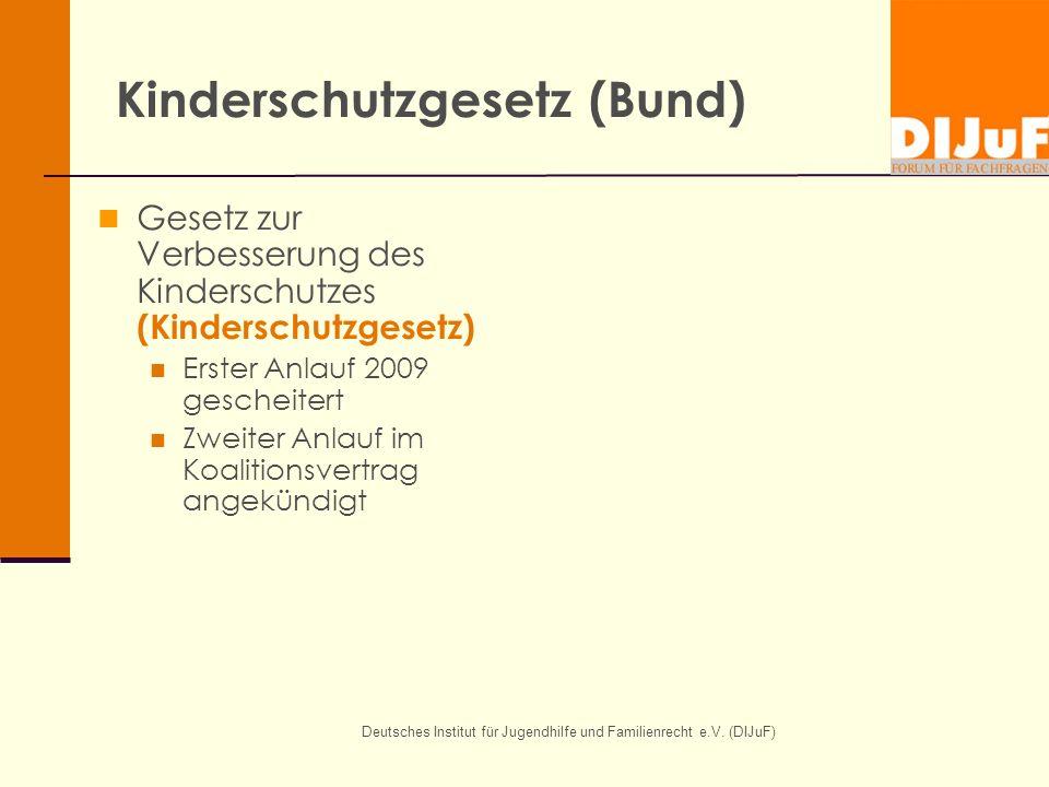 Deutsches Institut für Jugendhilfe und Familienrecht e.V. (DIJuF) Kinderschutzgesetz (Bund) Gesetz zur Verbesserung des Kinderschutzes (Kinderschutzge