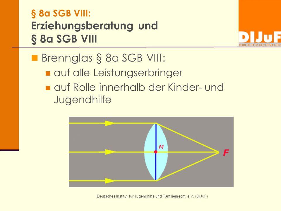 Deutsches Institut für Jugendhilfe und Familienrecht e.V. (DIJuF) § 8a SGB VIII: Erziehungsberatung und § 8a SGB VIII Brennglas § 8a SGB VIII: auf all