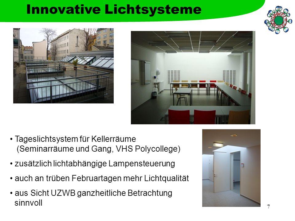 7 Innovative Lichtsysteme Tageslichtsystem für Kellerräume (Seminarräume und Gang, VHS Polycollege) zusätzlich lichtabhängige Lampensteuerung auch an