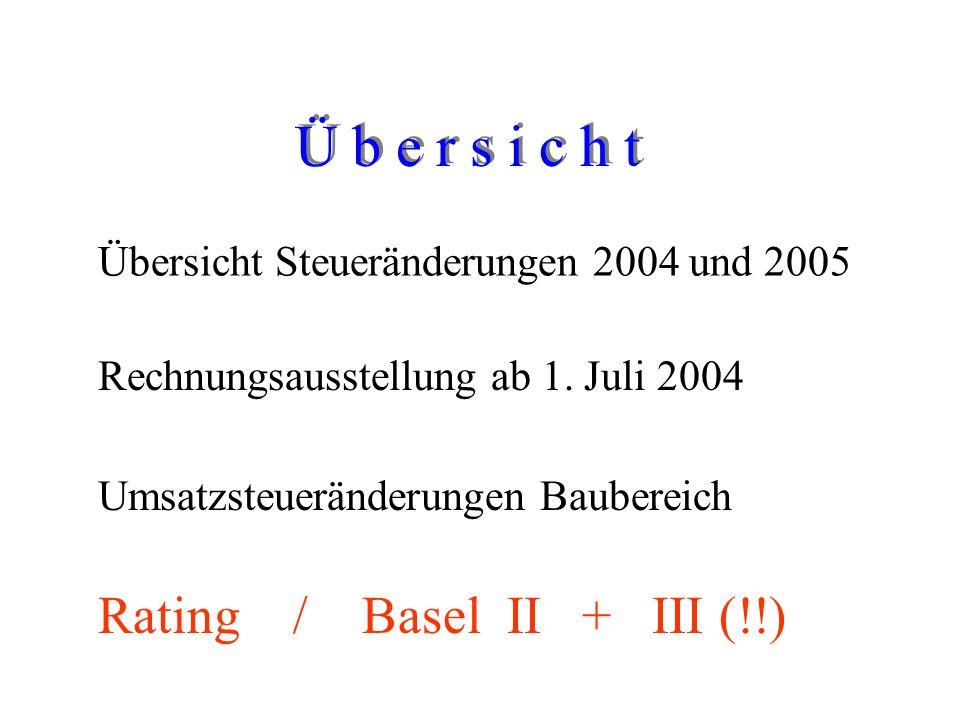 Martin Gansen Steueränderungen 2004/2005 Rating / Basel I + II Mittwoch, den 1. Juni 2005 Begrüßung