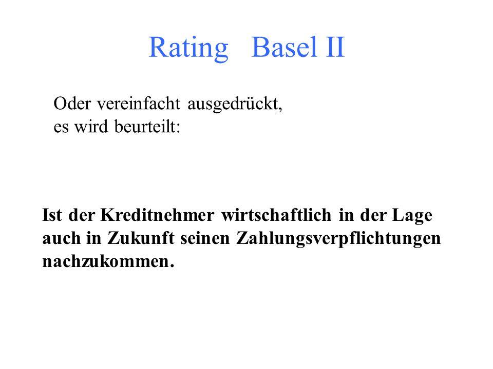 Rating Basel II + III (!) Begriff: Ziel ist die Bewertung der Bonität und Ausdruck, ob der Kreditnehmer seine Zahlungs- verpflichtungen in Zukunft erf