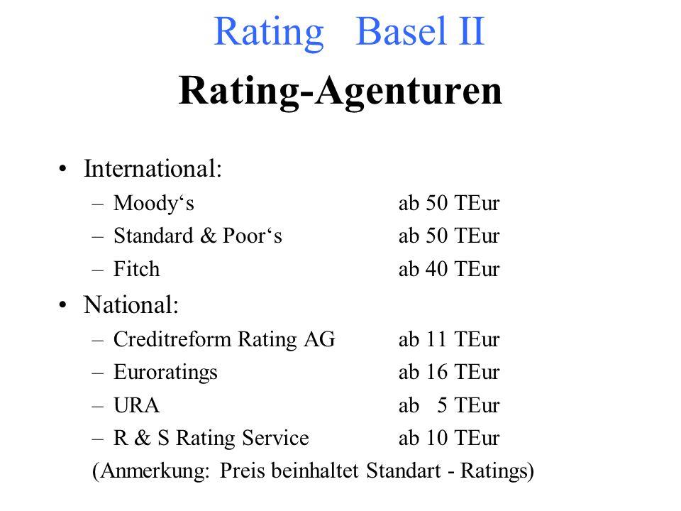 Ratingarten Internes Rating Einschätzung durch die jeweilige Bank Arten: –Unternehmensrating –Geschäftsfeldrating –Branchenrating –Finanzierungsrating