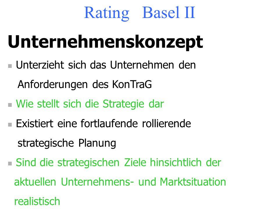 Rating Basel II Controlling Gibt es eine Controllingfunktion Gibt es eine zeitnahe Mehrjahresplanung Investitions-, Finanz- und Ertragsplanung Gibt es