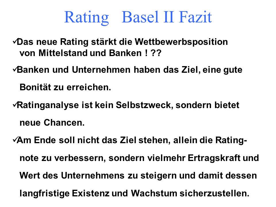 Rating Basel II Fazit Chancen für den Mittelstand Rating macht die Kreditentscheidung transparenter der Umgang mit Ratings muss erlernt werden Rating