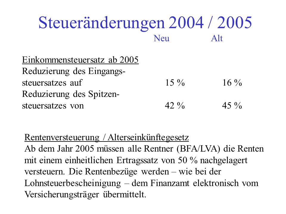Steueränderungen 2004 / 2005 NeuAlt Lohnsteuerkarten ab 2005 Gemeinde stellen noch weiterhin Lohnsteuerkarten aus ! Arbeitgeber muss einen Ausdruck de