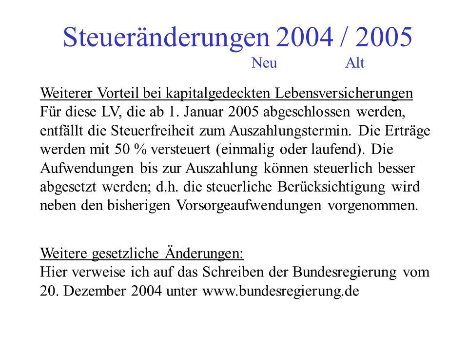 Steueränderungen 2004 / 2005 NeuAlt Meine Empfehlung: Die Rentner sollen sich beraten lassen (bei mir oder anderen ), damit sie in den nächsten Jahren