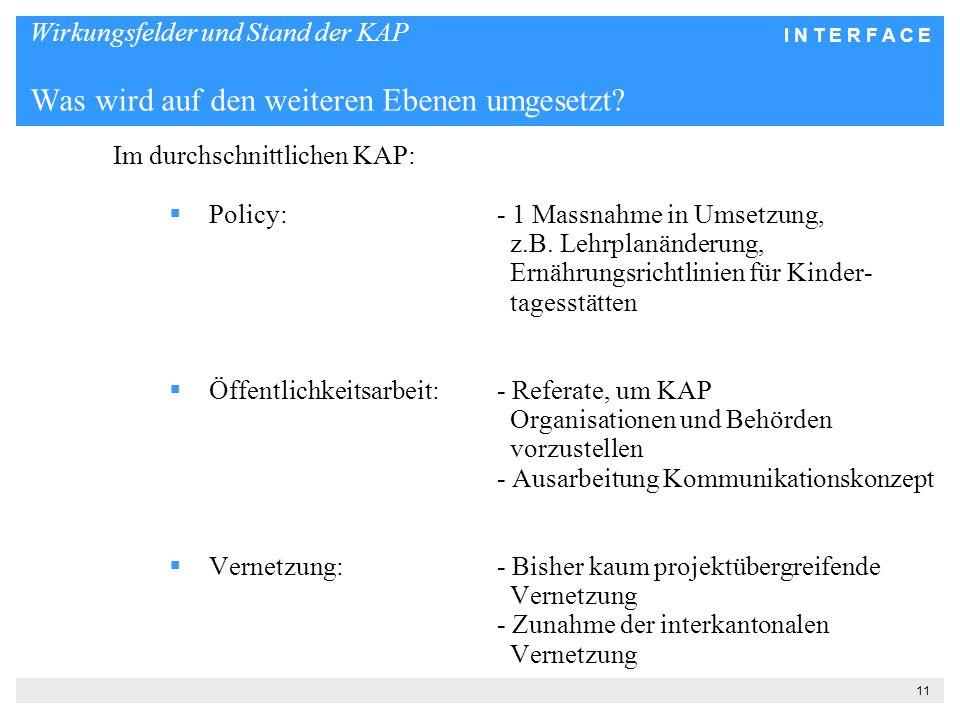 I N T E R F A C E 11 Wirkungsfelder und Stand der KAP Was wird auf den weiteren Ebenen umgesetzt.