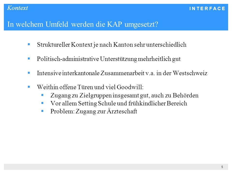 I N T E R F A C E 5 Kontext In welchem Umfeld werden die KAP umgesetzt? Struktureller Kontext je nach Kanton sehr unterschiedlich Politisch-administra