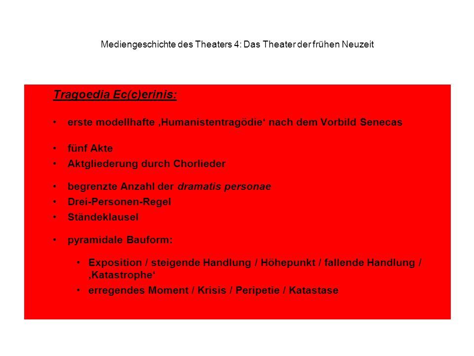 Mediengeschichte des Theaters 4: Das Theater der frühen Neuzeit Tragoedia Ec(c)erinis: erste modellhafte Humanistentragödie nach dem Vorbild Senecas f