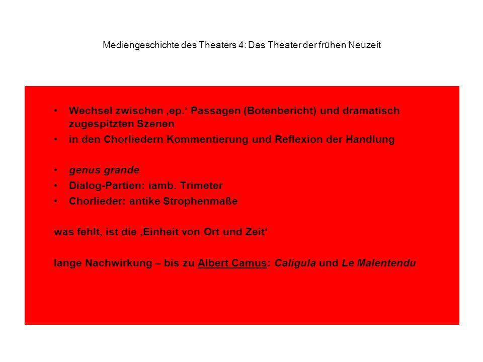 Mediengeschichte des Theaters 4: Das Theater der frühen Neuzeit Wechsel zwischen ep.