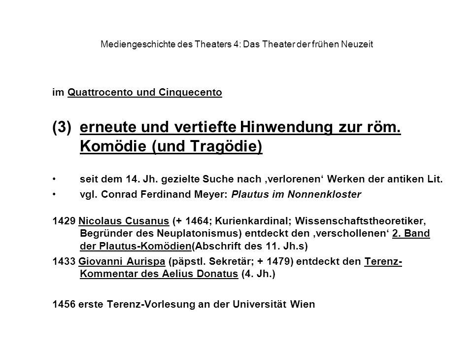 Mediengeschichte des Theaters 4: Das Theater der frühen Neuzeit im Quattrocento und Cinquecento (3)erneute und vertiefte Hinwendung zur röm. Komödie (