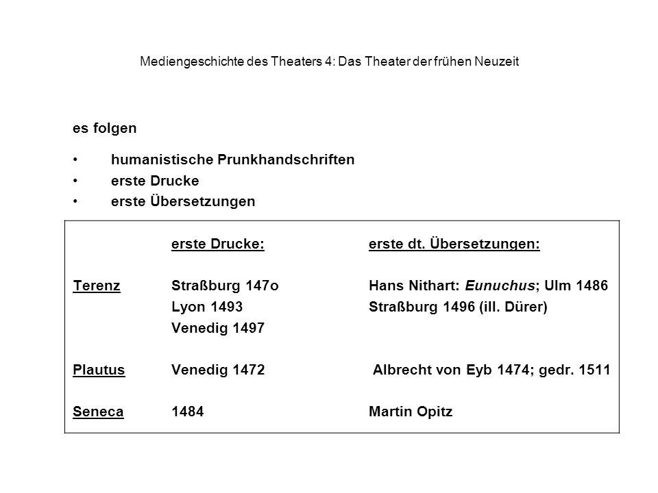 Mediengeschichte des Theaters 4: Das Theater der frühen Neuzeit es folgen humanistische Prunkhandschriften erste Drucke erste Übersetzungen erste Drucke:erste dt.