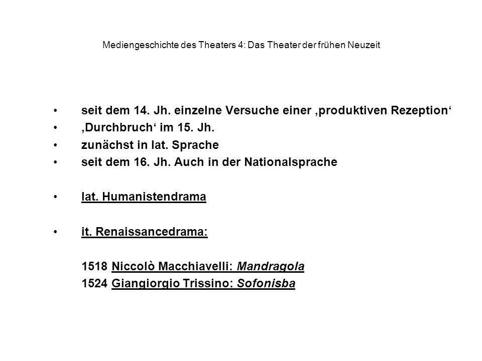 Mediengeschichte des Theaters 4: Das Theater der frühen Neuzeit seit dem 14. Jh. einzelne Versuche einer produktiven Rezeption Durchbruch im 15. Jh. z