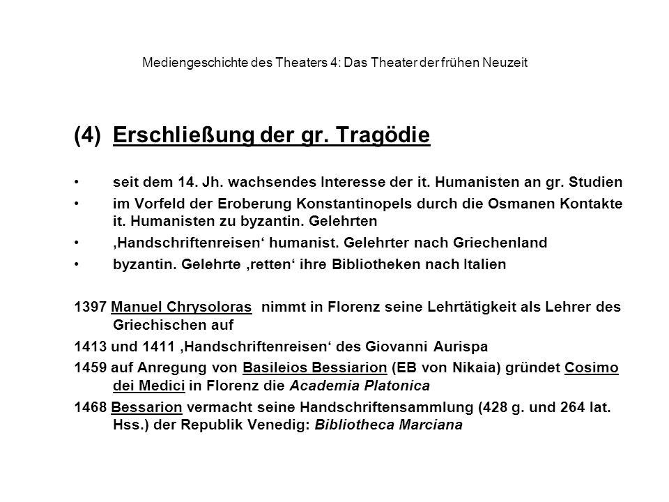 Mediengeschichte des Theaters 4: Das Theater der frühen Neuzeit (4)Erschließung der gr. Tragödie seit dem 14. Jh. wachsendes Interesse der it. Humanis