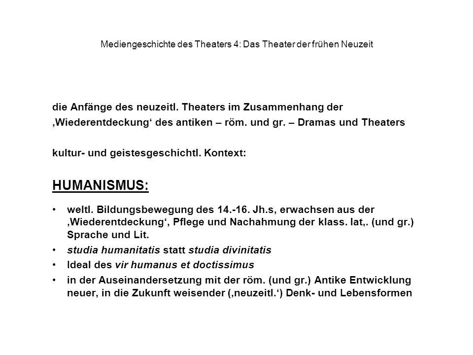 Mediengeschichte des Theaters 4: Das Theater der frühen Neuzeit die Anfänge des neuzeitl. Theaters im Zusammenhang der Wiederentdeckung des antiken –