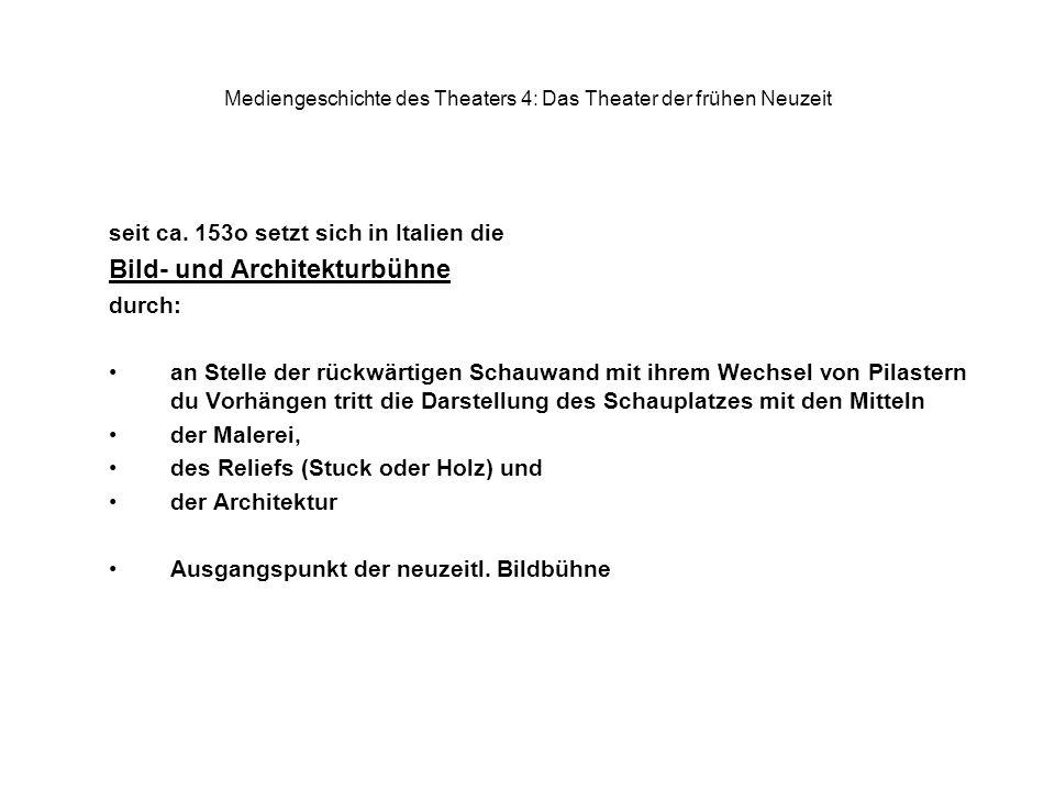Mediengeschichte des Theaters 4: Das Theater der frühen Neuzeit seit ca. 153o setzt sich in Italien die Bild- und Architekturbühne durch: an Stelle de