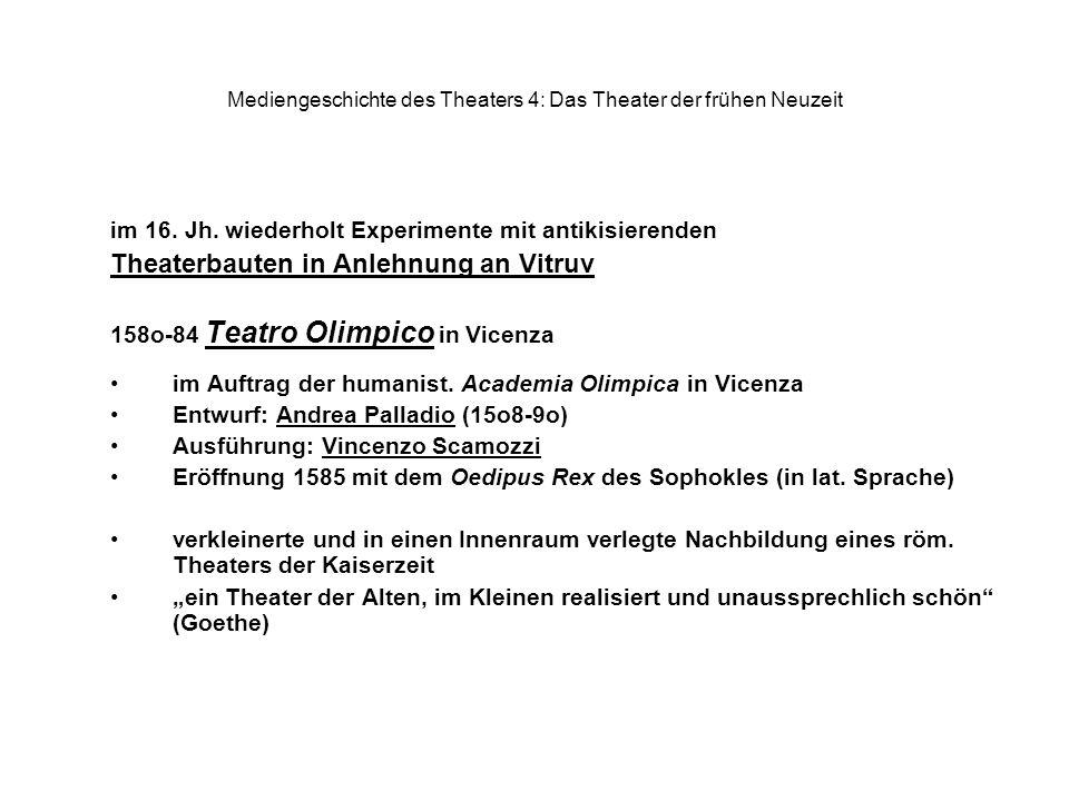 Mediengeschichte des Theaters 4: Das Theater der frühen Neuzeit im 16. Jh. wiederholt Experimente mit antikisierenden Theaterbauten in Anlehnung an Vi