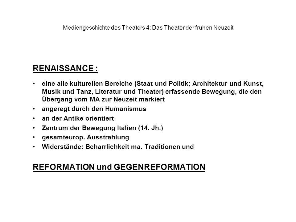 Mediengeschichte des Theaters 4: Das Theater der frühen Neuzeit RENAISSANCE : eine alle kulturellen Bereiche (Staat und Politik; Architektur und Kunst