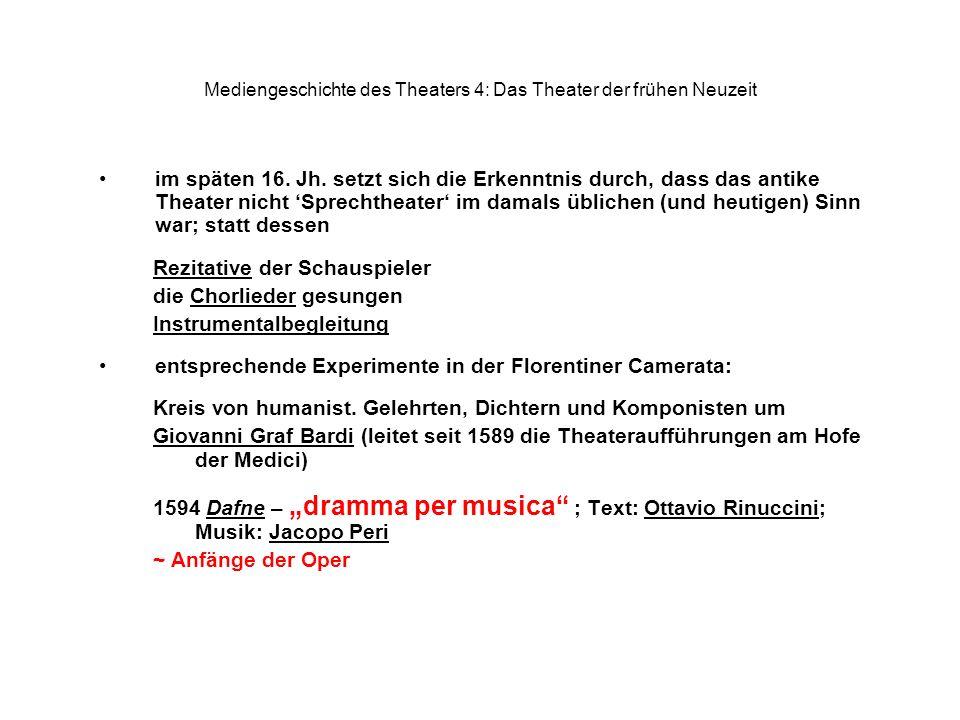 Mediengeschichte des Theaters 4: Das Theater der frühen Neuzeit im späten 16. Jh. setzt sich die Erkenntnis durch, dass das antike Theater nicht Sprec