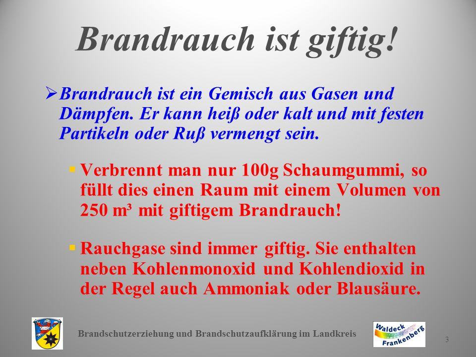 Brandschutzerziehung und Brandschutzaufklärung im Landkreis 4 Brandtote sind Rauchtote.