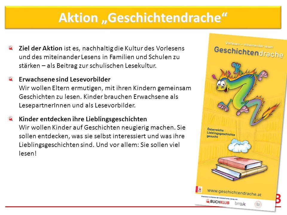 Aktion Geschichtendrache Ziel der Aktion ist es, nachhaltig die Kultur des Vorlesens und des miteinander Lesens in Familien und Schulen zu stärken – a