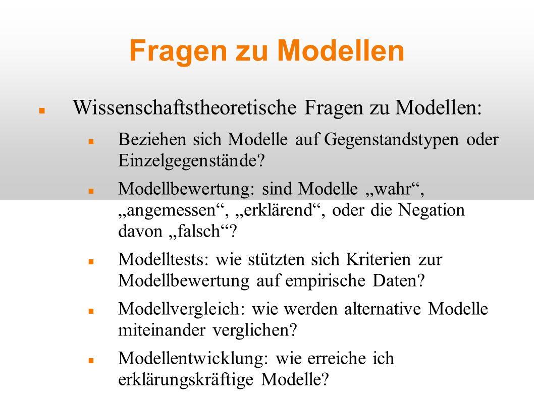 Fragen zu Modellen Wissenschaftstheoretische Fragen zu Modellen: Beziehen sich Modelle auf Gegenstandstypen oder Einzelgegenstände? Modellbewertung: s
