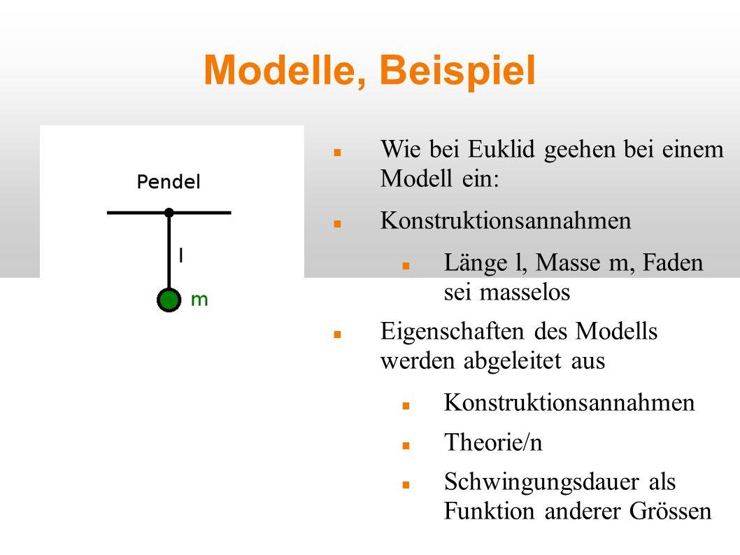 Modelle, Beispiel Wie bei Euklid geehen bei einem Modell ein: Konstruktionsannahmen Länge l, Masse m, Faden sei masselos Eigenschaften des Modells wer