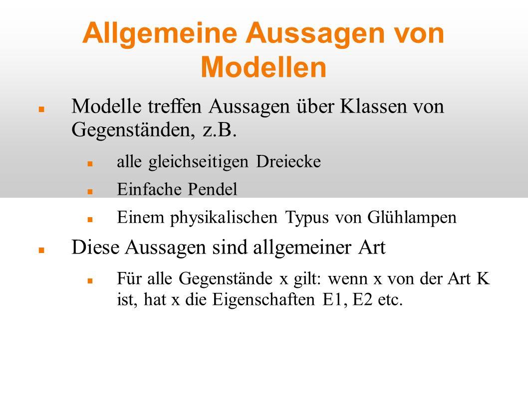 Allgemeine Aussagen von Modellen Modelle treffen Aussagen über Klassen von Gegenständen, z.B. alle gleichseitigen Dreiecke Einfache Pendel Einem physi