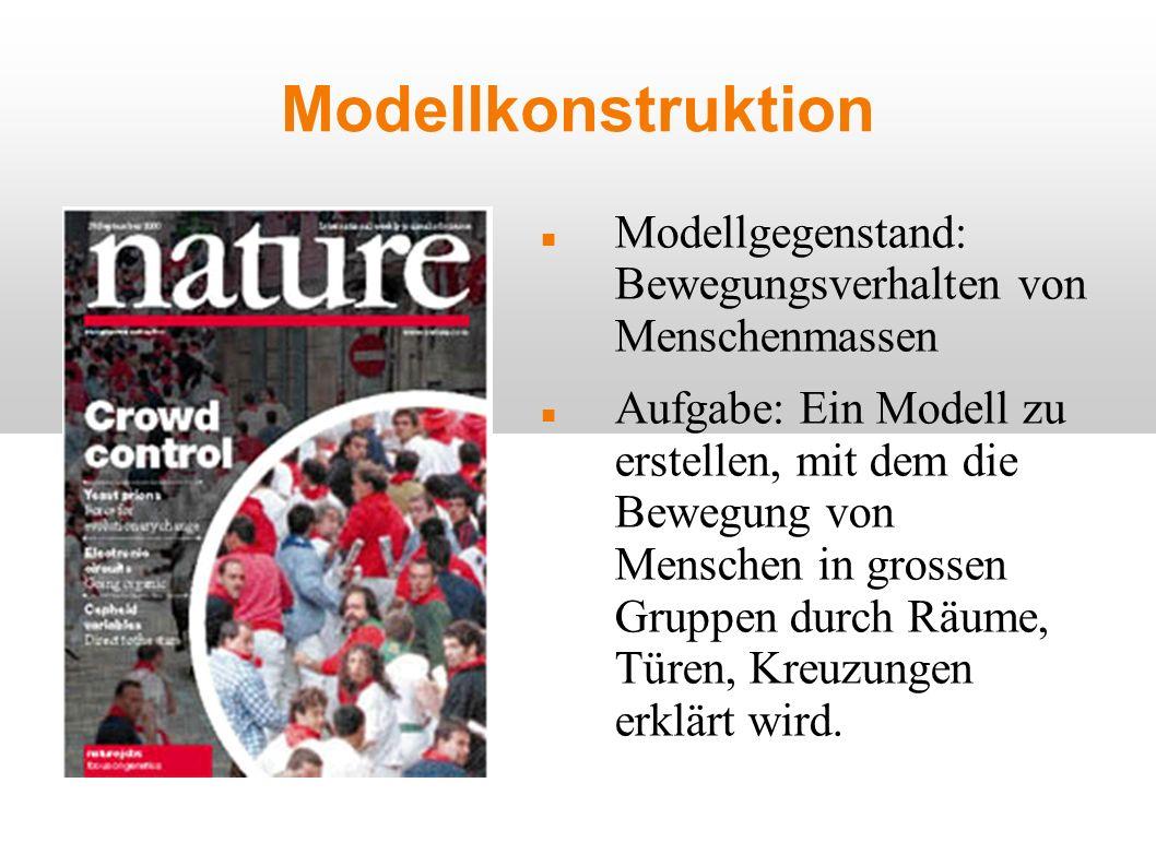 Modellkonstruktion Modellgegenstand: Bewegungsverhalten von Menschenmassen Aufgabe: Ein Modell zu erstellen, mit dem die Bewegung von Menschen in gros