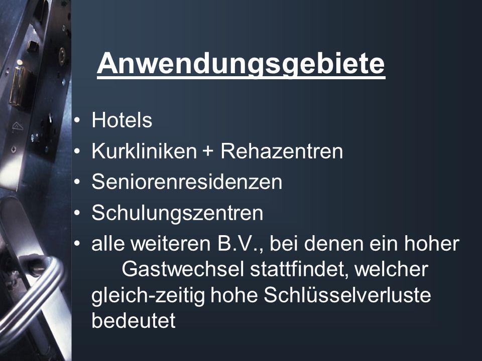 Anwendungsgebiete Hotels Kurkliniken + Rehazentren Seniorenresidenzen Schulungszentren alle weiteren B.V., bei denen ein hoher Gastwechsel stattfindet
