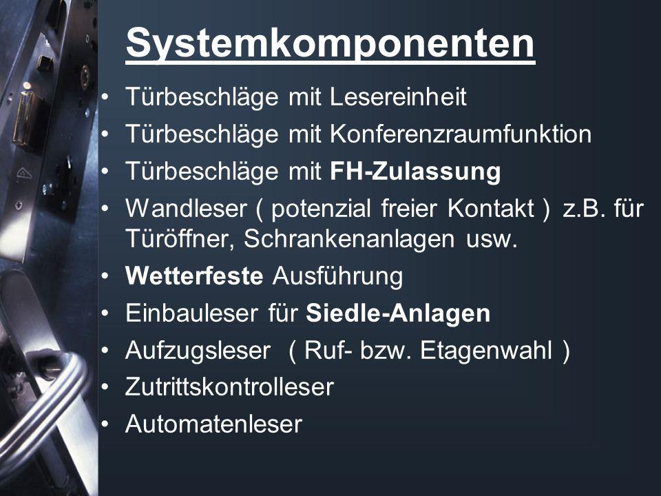 Systemkomponenten Türbeschläge mit Lesereinheit Türbeschläge mit Konferenzraumfunktion Türbeschläge mit FH-Zulassung Wandleser ( potenzial freier Kontakt ) z.B.