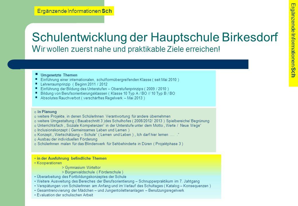 Schulentwicklung der Hauptschule Birkesdorf W ir wollen zuerst nahe und praktikable Ziele erreichen! Ergänzende Informationen Sch Umgesetzte Themen Ei