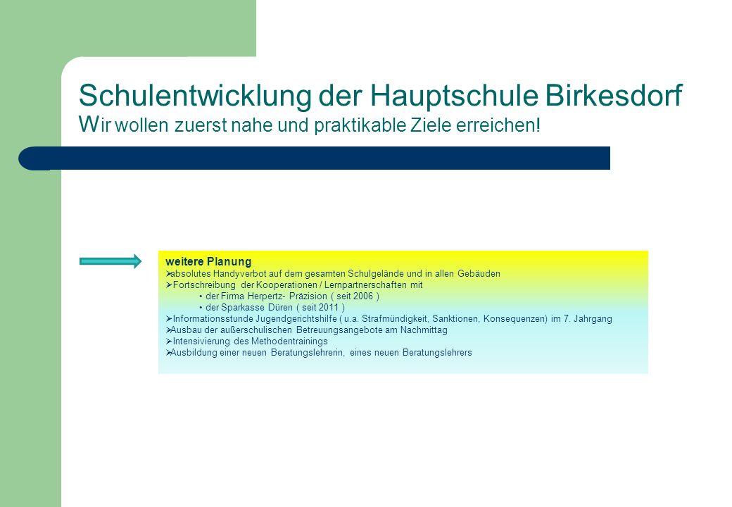 Schulentwicklung der Hauptschule Birkesdorf W ir wollen zuerst nahe und praktikable Ziele erreichen! weitere Planung absolutes Handyverbot auf dem ges