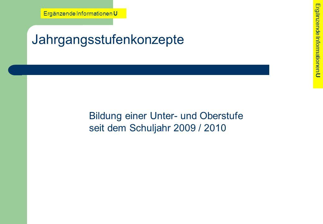 Jahrgangsstufenkonzepte Bildung einer Unter- und Oberstufe seit dem Schuljahr 2009 / 2010