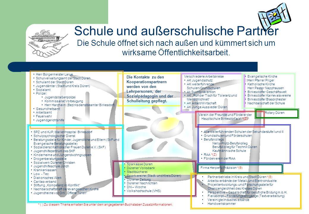 Schule und außerschulische Partner Die Schule öffnet sich nach außen und kümmert sich um wirksame Öffentlichkeitsarbeit. Herr Bürgermeister Larue Schu